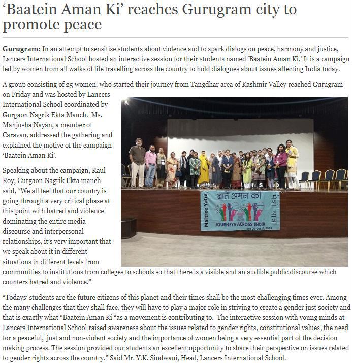 'Baatein Aman Ki' reaches Gurugram city to promote peace' (20th Oct 2018)