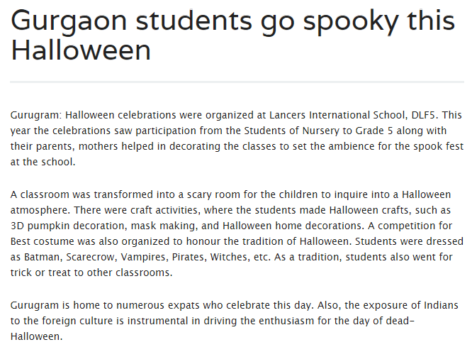 'Gurgaon students go spooky this Halloween' (12th Nov 2018)