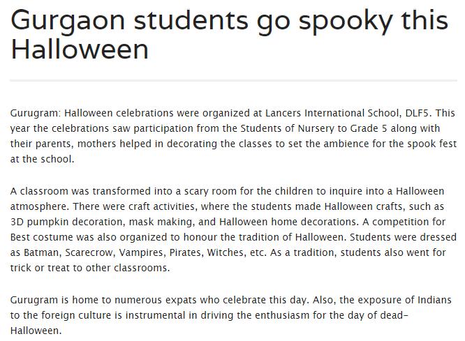 'Gurgaon students go spooky this Halloween' (12th Nov 2018)