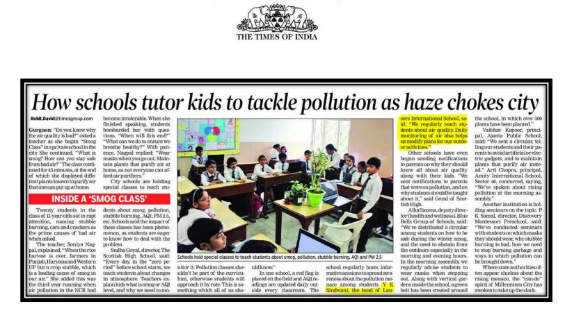 LIS, News Clipping of 'How schools tutor kids to tackle pollution as haze chokes City'- The Times of India (29th Nov 2018)