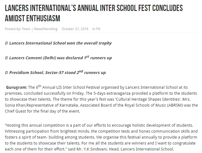 'Lancers International's Annual Inter School Fest concludes amidst enthusiasm' (31st Oct 2018)