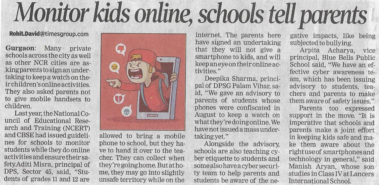 'Monitor kids online, schools tell parents' -The Times of India (24th October 2018)