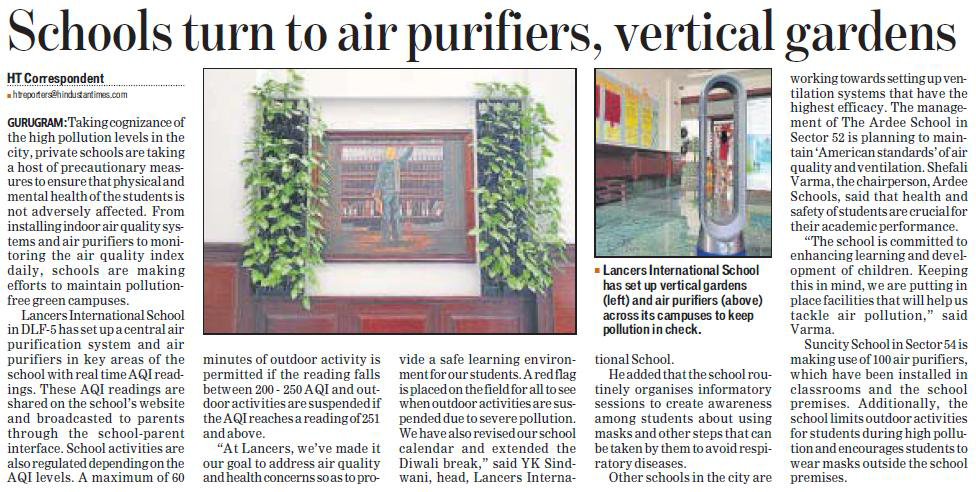 'Schools turn to air purifiers, vertical gardens'- Hindustan Times (31st Oct 2018)