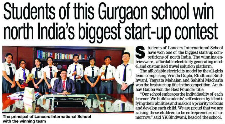 'Students of this Gurgaon school win north India's biggest start-up contest' (19th Oct 2018)