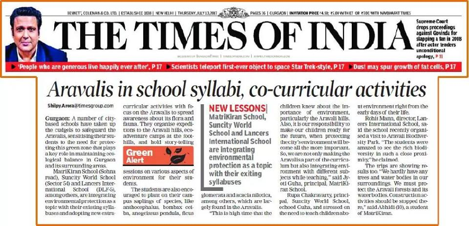 Aravalis in school-syllabi, co-curricular activities – THE TIMES OF INDIA