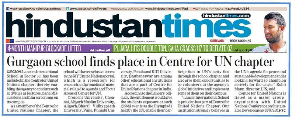Gurgaon School finds place in Center for UN Chapter – HINDUSTAN TIMES