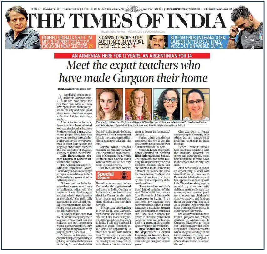 Meet the Expat teachers who have made Gurgaon their home – THE TIMES OF INDIA