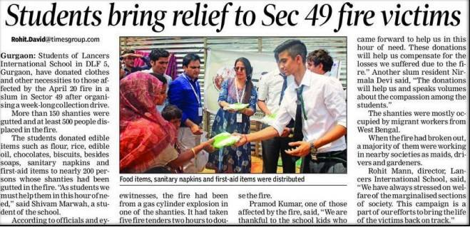 Students bring relief to Sector 49 fire victims