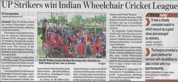 UP Striker win Indian Wheelchair Cricket League