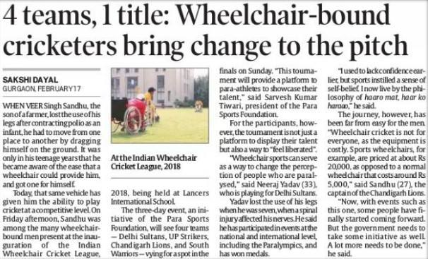 Wheelchair - bound cricketers bring change to the pitch